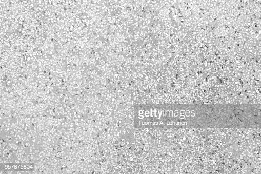 Terrazzo Flooring With Flecks Texture Background Pattern In Black And White Stock Photo