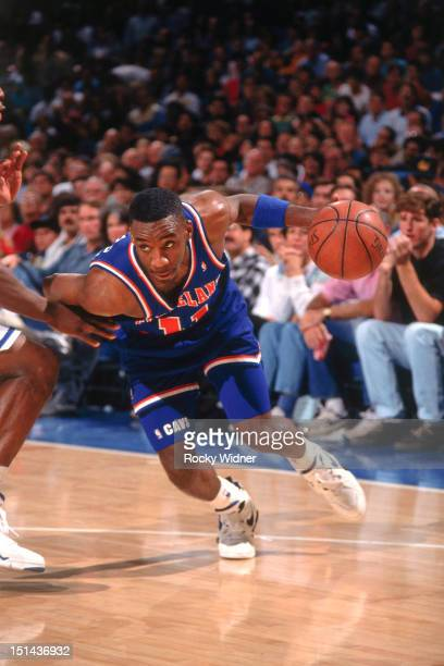 Terrell Brandon of the Cleveland Cavaliers dribbles against the Sacramento Kings on November 15 1992 at Arco Arena in Sacramento California NOTE TO...