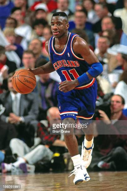 Terrell Brandon of the Cleveland Cavaliers dribbles the ball against the Portland Trail Blazers during a game played at the Veterans Memorial...