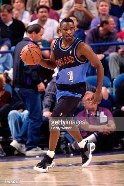 Terrell Brandon of the Cleveland Cavaliers dribbles the ball against the Sacramento Kings during a game played on March 31 1996 at Arco Arena in...