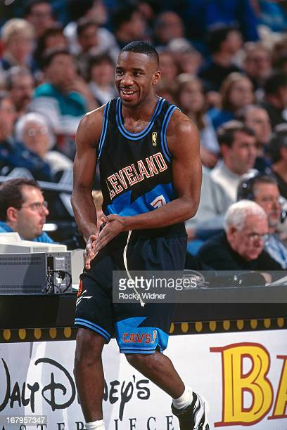 Terrell Brandon of the Cleveland Cavaliers looks on against the Portland Trail Blazers during a game played on March 14 1997 at the Rose Garden in...