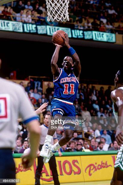 Terrell Brandon of the Cleveland Cavaliers shoots against the Boston Celtics during a game played in 1992 at the Boston Garden in Boston...