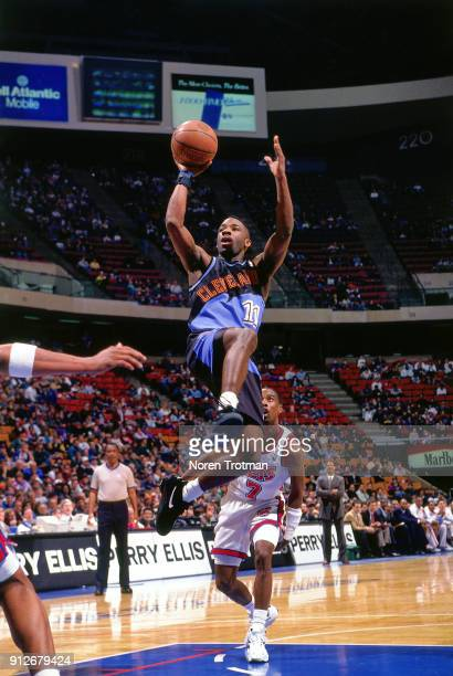 Terrell Brandon of the Cleveland Cavaliers shoots during a game played on February 18 1995 at Continetal Airlines Arena in East Rutherford New Jersey...