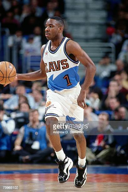 Terrell Brandon of the Eastern Conference dribbles during the 1997 AllStar Game on February 9 1997 at Gund Arena in Cleveland Ohio NOTE TO USER User...