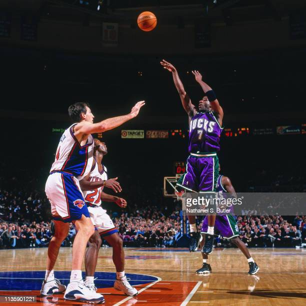 Terrell Brandon of the Milwaukee Bucks shoots the ball against the New York Knicks on March 9 1999 at Madison Square Garden in New York New York NOTE...
