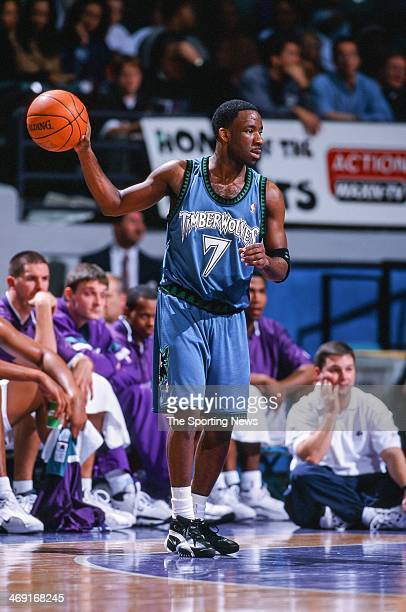 Terrell Brandon of the Minnesota Timberwolves during the game against the Charlotte Hornets on December 15 1999 at Charlotte Coliseum in Charlotte...
