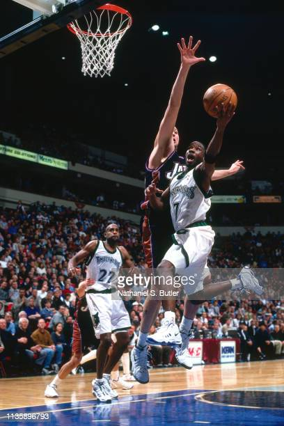 Terrell Brandon of the Minnesota Timberwolves goes to the basket against the Utah Jazz on March 15 1999 at the Target Center in Minneapolis Minnesota...