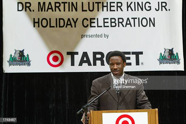 Terrell Brandon of the Minnesota Timberwolves speaks during the Dr Martin Luther King Jr Celebration on January 20 2003 at the Target Center in...