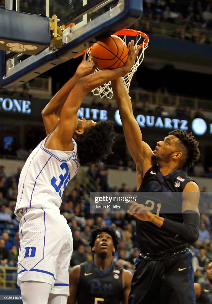 Terrell Brown #21 of the Pittsburgh Panthers blocks the shot of Marvin Bagley III #35 of the Duke Blue Devils at Petersen Events Center on January 10, 2018 in Pittsburgh, Pennsylvania.