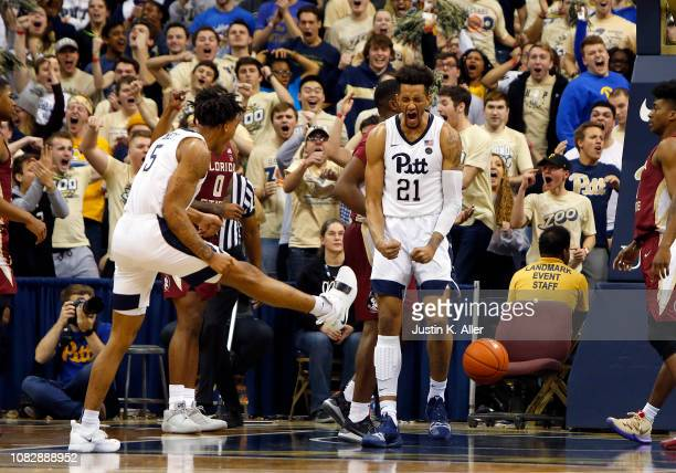 Terrell Brown of the Pittsburgh Panthers celebrates after an and one against the Florida State Seminoles at Petersen Events Center on January 14 2019...