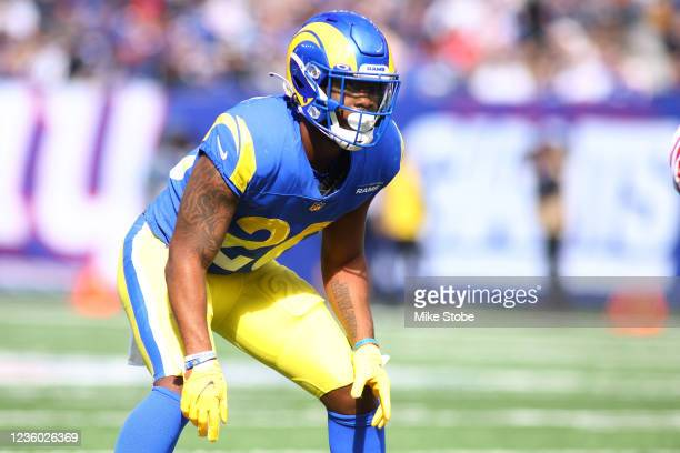 Terrell Burgess of the Los Angeles Rams in action against the New York Giants at MetLife Stadium on October 17, 2021 in East Rutherford, New Jersey....