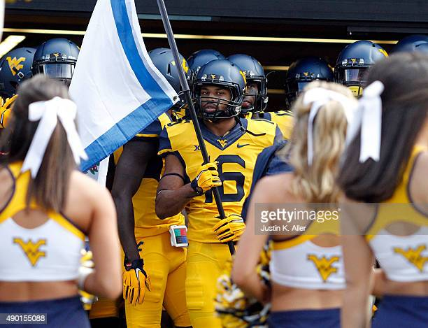 Terrell Chestnut of the West Virginia Mountaineers waits to be introduced before the game against the Maryland Terrapins on September 26 2015 at...