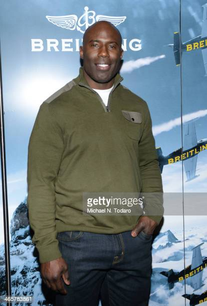 Terrell Davis attends Boomer Esiason Previews Super Bowl XLVIII With Guests At Breitling Boutique New York January 28 2014 in New York City