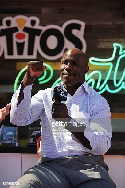 Terrell Davis takes questions at the Tostitos Stage at the NFL Kickoff Village on September 9 2016 in Denver Colorado