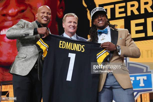 Terrell Edmunds of Virginia Tech poses with Pittsburgh Steelers linebacker Ryan Shazier and NFL Commissioner Roger Goodell after being picked overall...