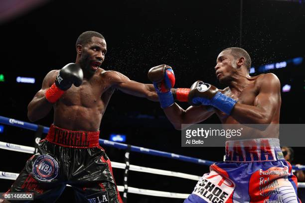 Terrell Gausha and Erislandy Lara exchange punches during their WBA Junior Middleweight Title bout at Barclays Center of Brooklyn on October 14 2017...