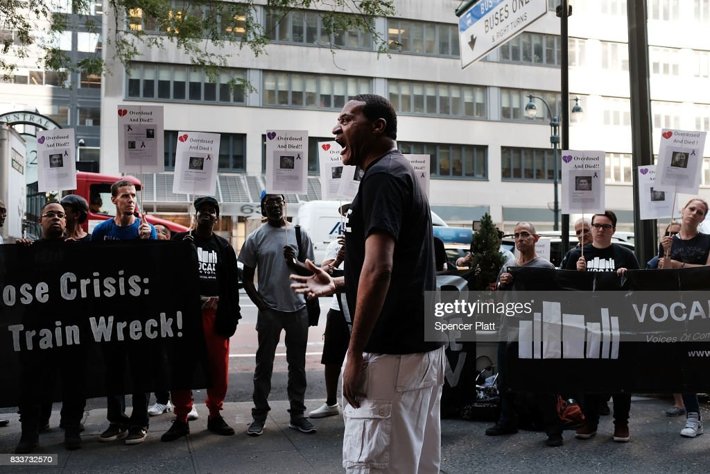 Terrell Jones joins other recovering drug users, activists and social service providers as they hold a morning rally calling for 'bolder political action' in combating the overdose epidemic outside of the office of Governor Andrew Cuomo on August 17, 2017 in New York City. According to the latest data available from the National Institute on Drug Abuse, nearly 35,000 people across America died of heroin or opioid overdoses in 2015.