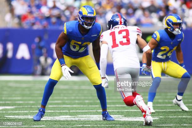 Terrell Lewis of the Los Angeles Rams in action against the New York Giants at MetLife Stadium on October 17, 2021 in East Rutherford, New Jersey....