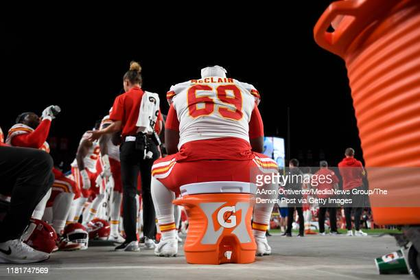 Terrell McClain of the Kansas City Chiefs sits on a Gatorade cooler during the third quarter against the Denver Broncos on Thursday, October 17, 2019.