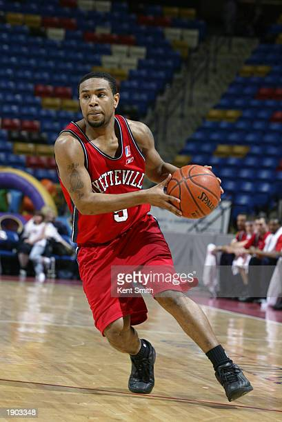Terrell McIntyre of the Fayetteville Patriots moves the ball against the Roanoke Dazzle during Game One of the NBDL Semifinals at the Crown Coliseum...