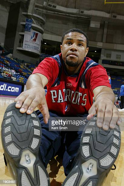 Terrell McIntyre of the Fayetteville Patriots stretches before Game One of the NBDL Semifinals against the Roanoke Dazzle at the Crown Coliseum on...