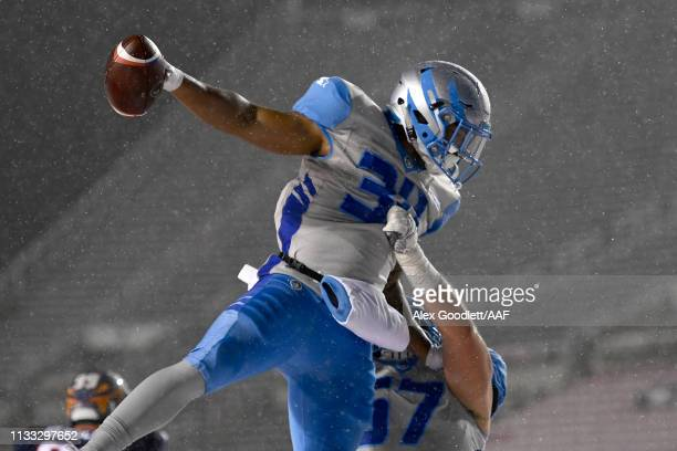 Terrell Newby of Salt Lake Stallions celebrates after scoring on a twopoint conversion against the Orlando Apollos during their Alliance of American...