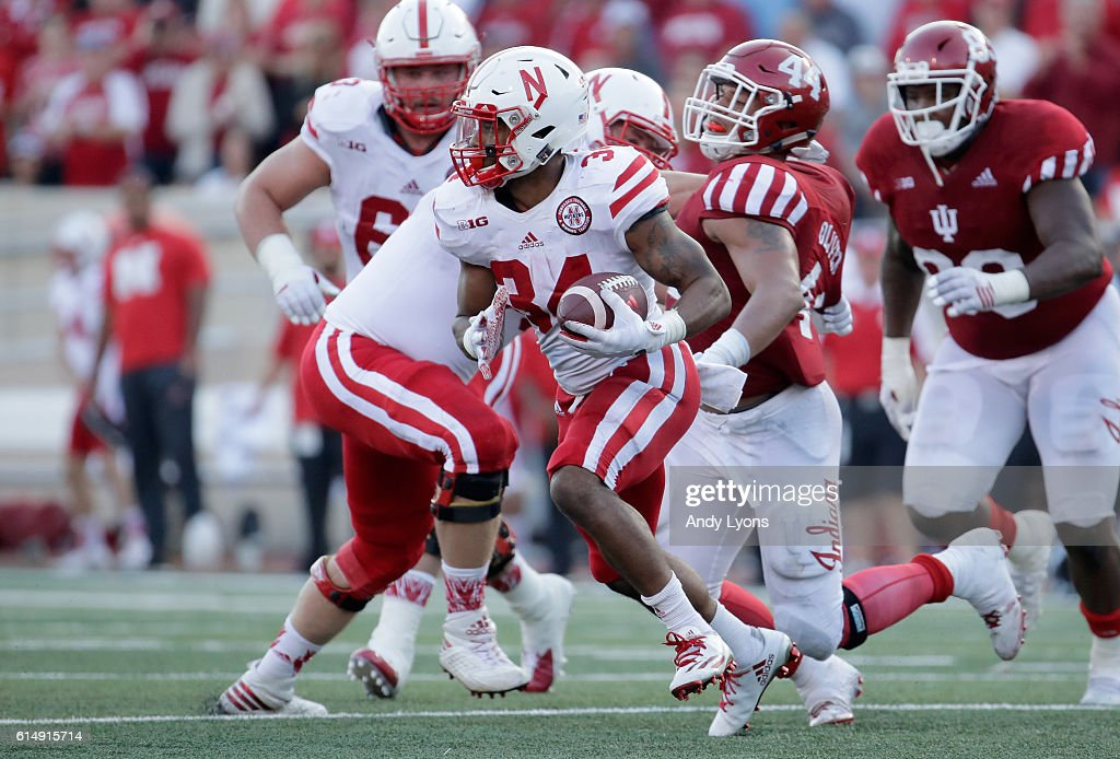 Terrell Newby #34 of the Nebraska Cornhuskers runs with the ball during the game aganst the Indiana Hoosiers at Memorial Stadium on October 15, 2016 in Bloomington, Indiana.