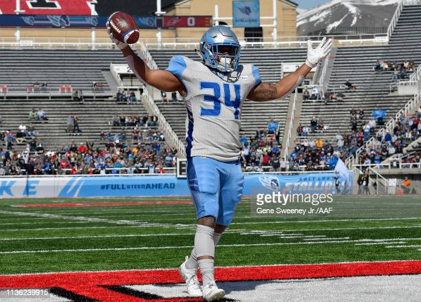 Terrell Newby of the Salt Lake Stallions celebrates against the the Memphis Express at Rice Eccles Stadium on March 16 2019 in Salt Lake City Utah