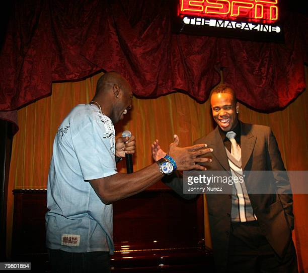 Terrell Owens and Damon Jones attend the 2008 NBA AllStar in New Orleans ESPN The Magazine's Chicken `N' Waffles event at Harrah's Hotel February 16...