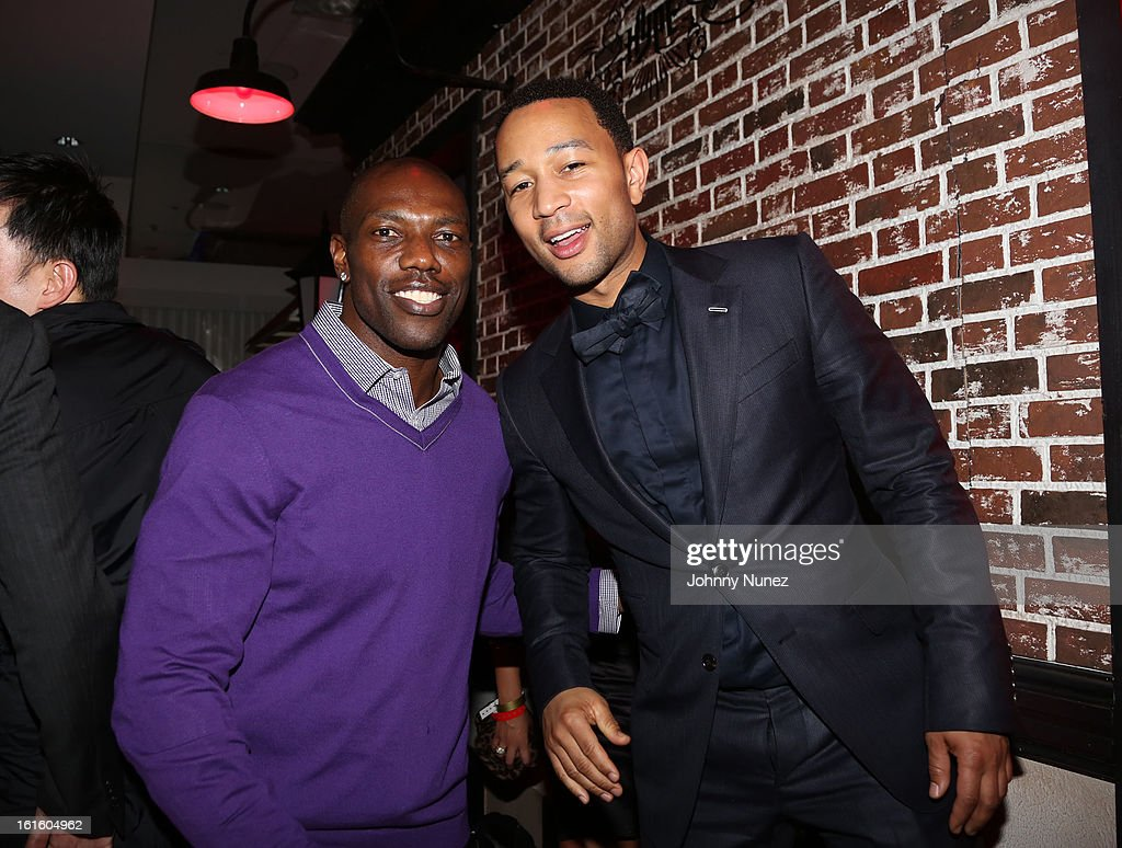 Terrell Owens and John Legend attend House Of Hype Monster Grammy Party at House Of Hype on February 10, 2013 in Los Angeles, California.