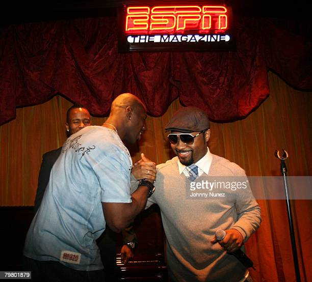 Terrell Owens and Musiq Soulchild attend the 2008 NBA AllStar in New Orleans ESPN The Magazine's Chicken `N' Waffles event at Harrah's Hotel February...