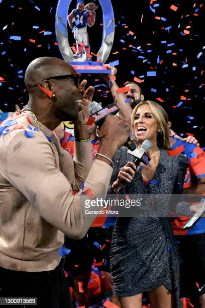 Terrell Owens and Sara Walsh speak during The SHAQ Bowl for Super Bowl LV on February 07, 2021 in Tampa, Florida.