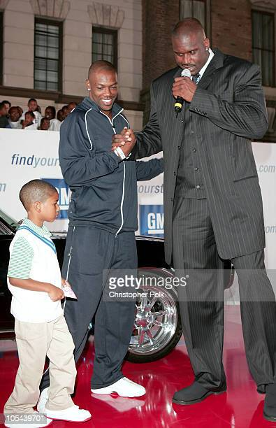 Terrell Owens and Shaquille O'Neal during 2nd Annual Rollin' 24 GM All Car Showdown at Paramount Studios in Los Angeles California United States