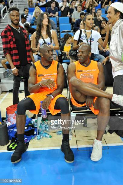 Terrell Owens and Simeon Rice participate in Monster Energy Outbreak $50K Charity Challenge celebrity basketball game at UCLA on July 17 2018 in Los...