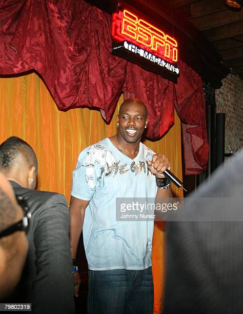 Terrell Owens attends the 2008 NBA AllStar in New Orleans ESPN The Magazine's Chicken `N' Waffles event at Harrah's Hotel February 16 2008 in New...