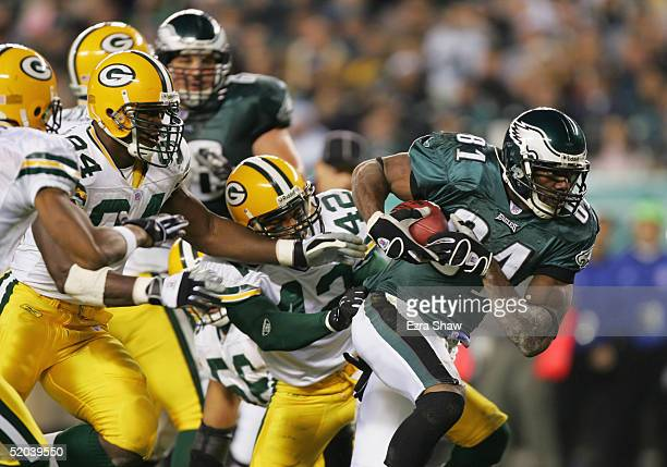 Terrell Owens of the Philadelphia Eagles carries the ball during the game against the Green Bay Packers at Lincoln Financial Field on December 5 2004...
