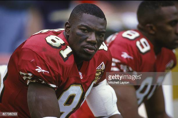 Terrell Owens of the San Francisco 49ers during a NFL football game against the Washington Redskins on November 24 1996 at RFK Stadium in Washington...