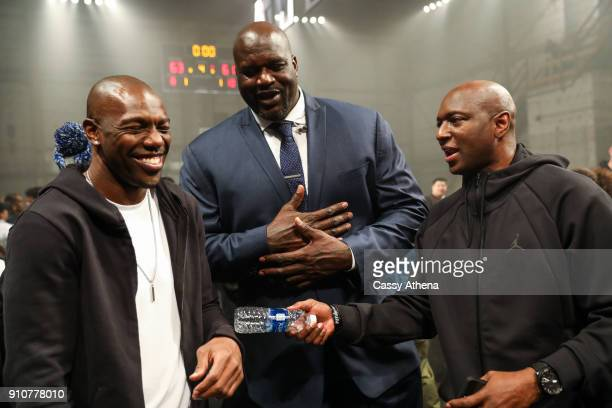 Terrell Owens Shaquille O'Neal and guest talking at the Jordan Brand Future of Flight Showcase on January 25 2018 in Studio City California