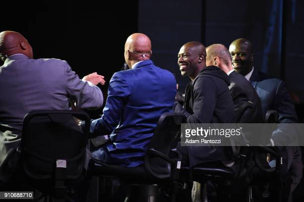 Terrell Owens Shaquille O'Neal Charles Barkley Ernie Johnson and Kenny Smith speak during the 2018 Brand Jordan NBA AllStar Uniforms AllStar Rosters...