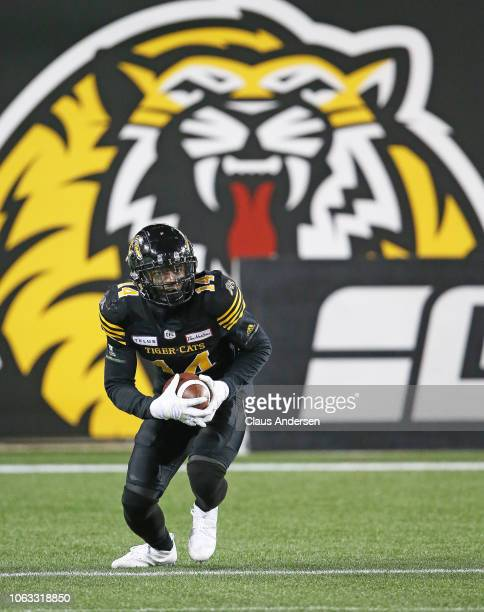 Terrell Sinkfield Jr #14 of the Hamilton TigerCats returns a punt against the Montreal Alouettes in a CFL game at Tim Hortons Field on November 3...