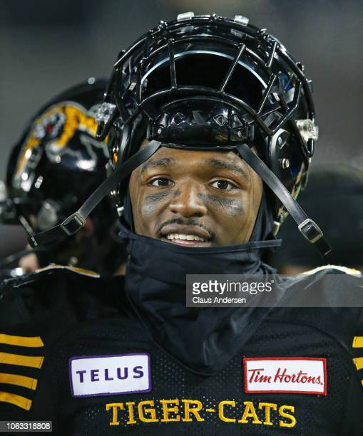 Terrell Sinkfield Jr #14 of the Hamilton TigerCats takes a breather against the Montreal Alouettes in a CFL game at Tim Hortons Field on November 3...