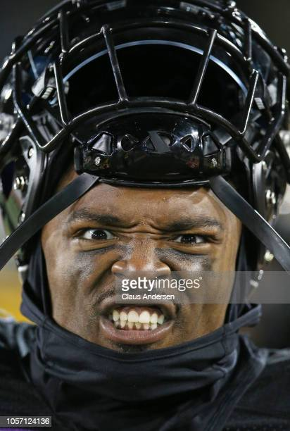 Terrell Sinkwell Jr #14 of the Hamilton TigerCats hams it up on the sidelines against the Montreal Alouettes in a CFL game at Tim Hortons Field on...