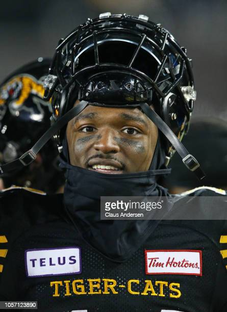 Terrell Sinkwell Jr #14 of the Hamilton TigerCats takes a breather against the Montreal Alouettes in a CFL game at Tim Hortons Field on November 3...