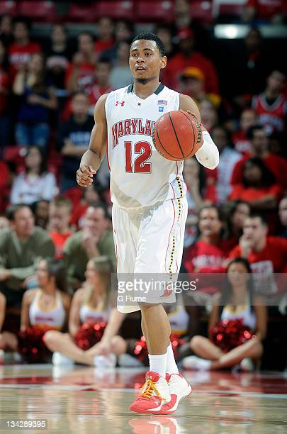 Terrell Stoglin of the Maryland Terrapins brings the ball up the court against the UNCW Seahawks at the Comcast Center on November 13 2011 in College...