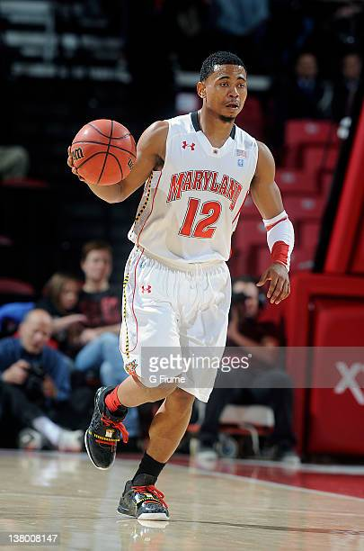 Terrell Stoglin of the Maryland Terrapins brings the ball up the court against the Georgia Tech Yellow Jackets at the Comcast Center on January 15...