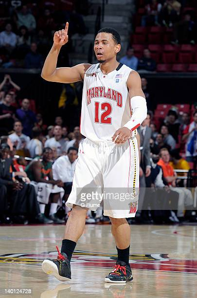 Terrell Stoglin of the Maryland Terrapins celebrates after scoring against the Miami Hurricanes at the Comcast Center on February 21 2012 in College...