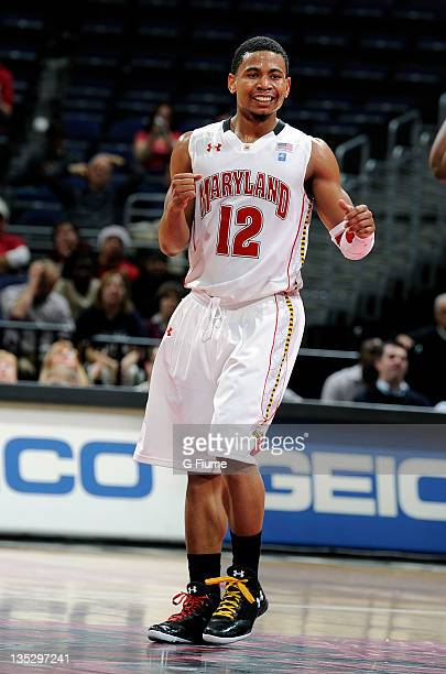 Terrell Stoglin of the Maryland Terrapins celebrates against the Notre Dame Fighting Irish during the BBT College Basketball Classic at the Verizon...