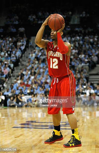 Terrell Stoglin of the Maryland Terrapins during the Quarterfinals of the 2012 ACC Men's Basketball Conferene Tournament at Philips Arena on March 9...