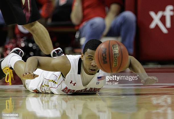 Terrell Stoglin of the Maryland Terrapins follows a loose ball against the Florida State Seminoles at the Comast Center on February 23 2011 in...