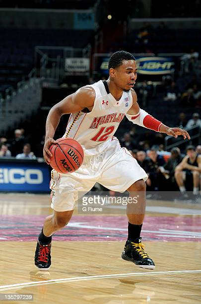 Terrell Stoglin of the Maryland Terrapins handles the ball against the Notre Dame Fighting Irish during the BBT College Basketball Classic at the...